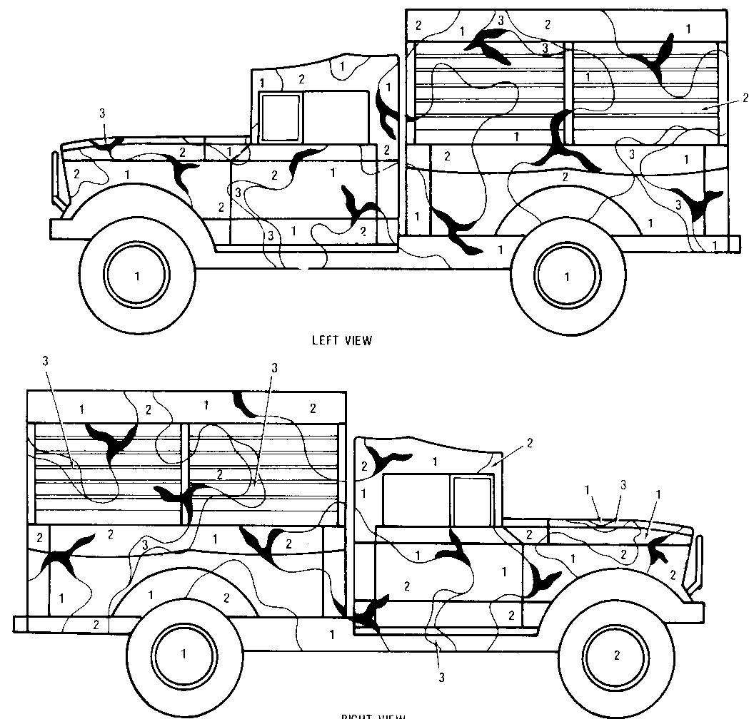 camouflage coloring pages - color markings and camouflage painting
